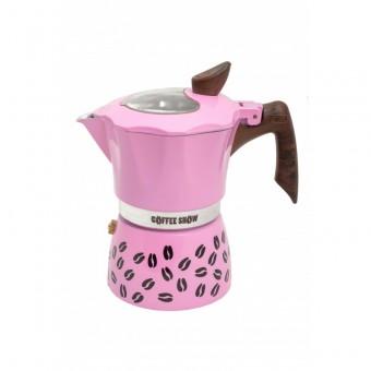 G.A.T. - Coffee show  - kotyogós kávéfőző - 3 csészés - rózsaszín