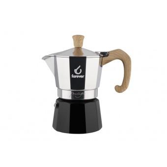 FOREVER - Miss Moka Prestige - Woody - hagyományos kávéfőző - 3 csészés - fekete és fautánzat