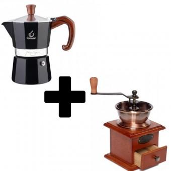 FOREVER - Miss Moka Prestige - Radica - kávéfőző - 3 adagos + EVA - kézi kávédaráló - 10,5 cm