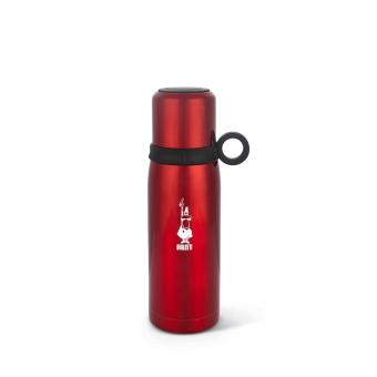 BIALETTI - hőtartó rozsdamentes acél termosz/palack pohárral - piros - 460 ml
