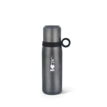 BIALETTI - hőtartó rozsdamentes acél termosz/palack pohárral - szürke - 460 ml