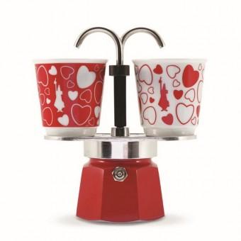 BIALETTI - Mini Express hagyományos kávéfőző szett 2 darab szívecskés porcelán csészésvel - piros - 2 adagos