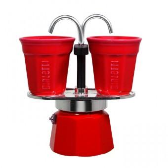BIALETTI - Mini Express hagyományos kávéfőző szett 2 darab porcelán csészésvel - piros - 2 adagos