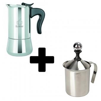 FOREVER - Miss Splendy - kávéfőző - 6 csészés- inox + EVA - kézi tejhabosító - 0,4 literes - inox