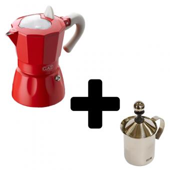 G.A.T. - Rossana - kotyogós kávéfőző - 3 csészés + FOREVER - tejhabosító - 0,4 literes - inox