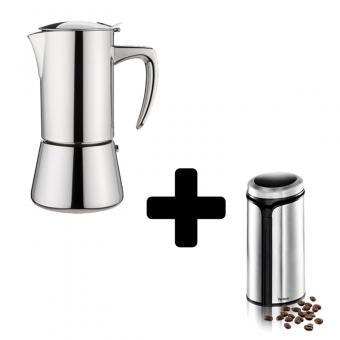 FOREVER - Miss Diamond - kávéfőző - 4 csészés- inox + TRISA - elektromos kávédaráló - ( kávébabhoz, magvakhoz, fűszerekhez ) - 150 W - inox