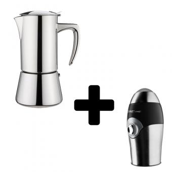 FOREVER - Miss Diamond - kávéfőző - 6 csészés - inox + SCARLETT - elektromos kávédaráló - 150 W - inox