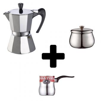 G.A.T. - VIP aRoma - kotyogós kávéfőző - 6 csészés + G.A.T. - PRATIKA kávékiöntő - 0,65 literes + G.A.T. - PRATIKA cukortartó - 300 grammos