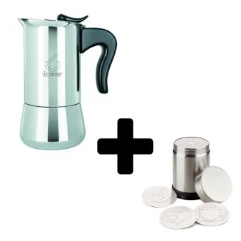 FOREVER - Miss Splendy -  kávéfőző - 2 csészés- inox  + FOREVER - Cappuccino díszítő - inox