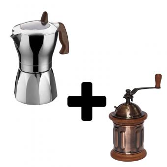G.A.T. - Melodia - kotyogós kávéfőző - 2 csészés + EVA - Kézi kávédaráló - henger - vörösréz és fa