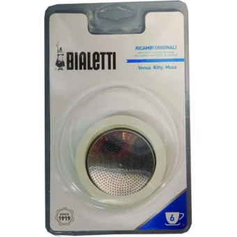 BIALETTI - Gumi tömítés és szűrő - 6 adagos BIALETTI inox kávéfőzőkhöz - Venus - Musa - Kitty