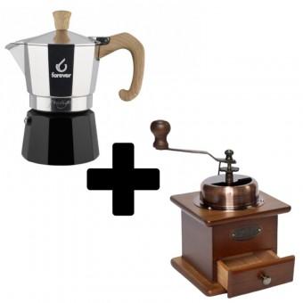FOREVER - Miss Moka Prestige - Woody - kávéfőző - 6 adagos + EVA - kézi kávédaráló - 12,5 cm